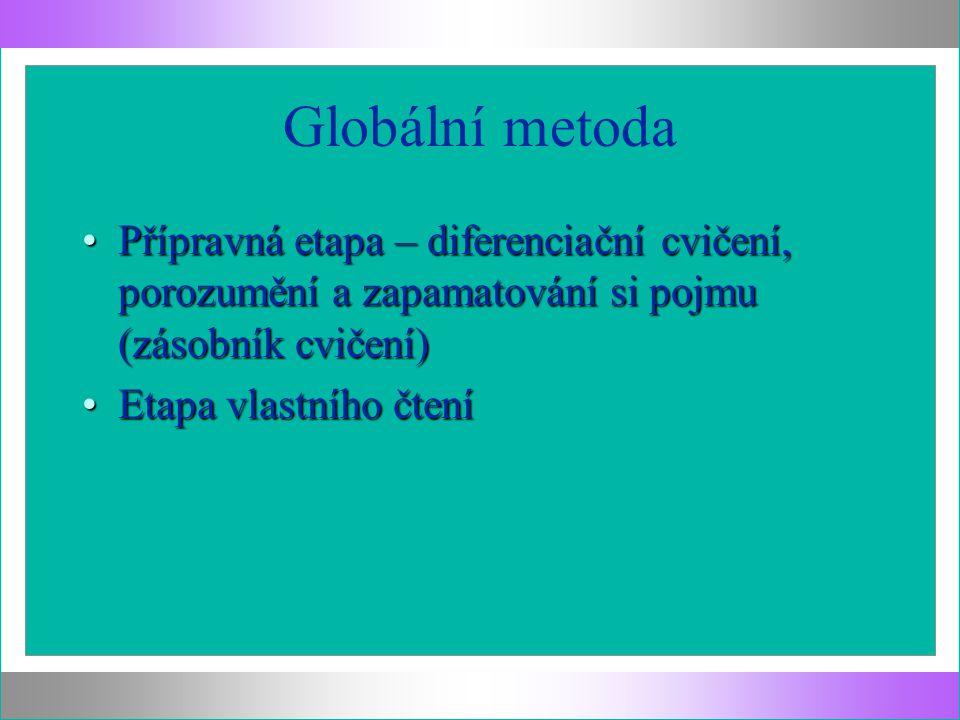 Globální metoda Přípravná etapa – diferenciační cvičení, porozumění a zapamatování si pojmu (zásobník cvičení)Přípravná etapa – diferenciační cvičení,