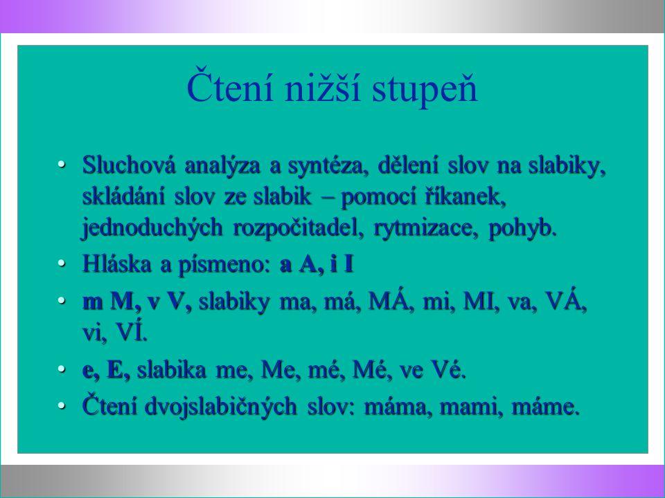 Čtení nižší stupeň Sluchová analýza a syntéza, dělení slov na slabiky, skládání slov ze slabik – pomocí říkanek, jednoduchých rozpočitadel, rytmizace, pohyb.Sluchová analýza a syntéza, dělení slov na slabiky, skládání slov ze slabik – pomocí říkanek, jednoduchých rozpočitadel, rytmizace, pohyb.
