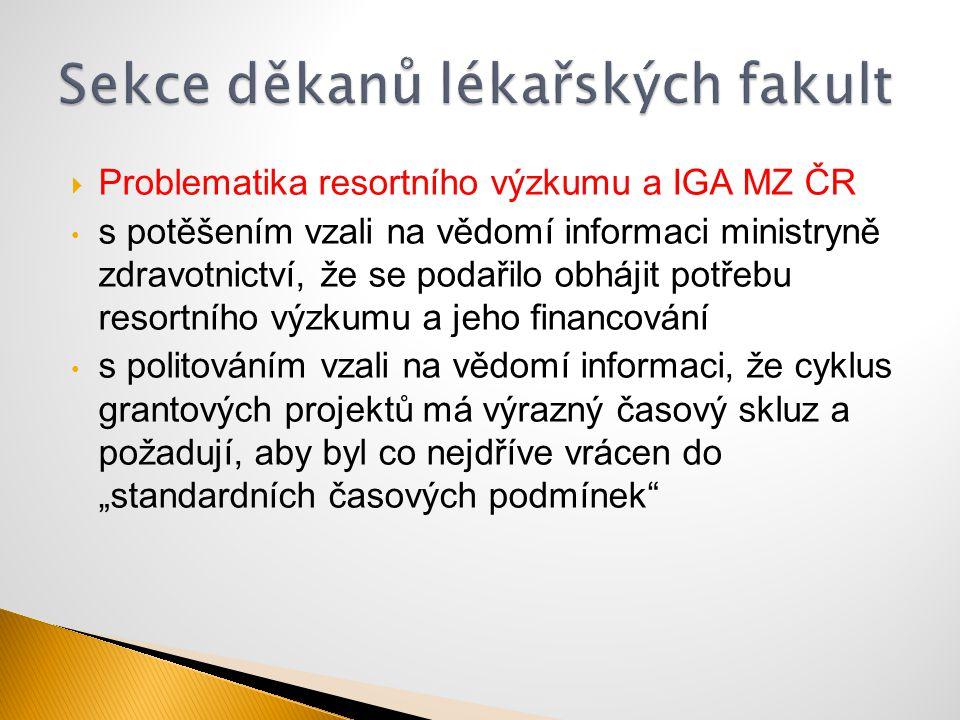  Problematika resortního výzkumu a IGA MZ ČR s potěšením vzali na vědomí informaci ministryně zdravotnictví, že se podařilo obhájit potřebu resortníh