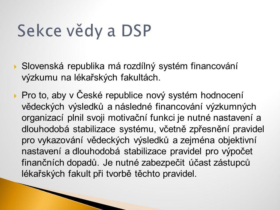  Slovenská republika má rozdílný systém financování výzkumu na lékařských fakultách.  Pro to, aby v České republice nový systém hodnocení vědeckých