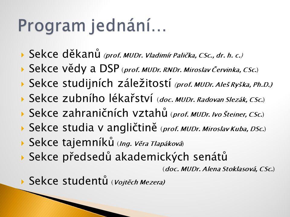  Sekce děkanů (prof. MUDr. Vladimír Palička, CSc., dr. h. c.)  Sekce vědy a DSP (prof. MUDr. RNDr. Miroslav Červinka, CSc.)  Sekce studijních zálež