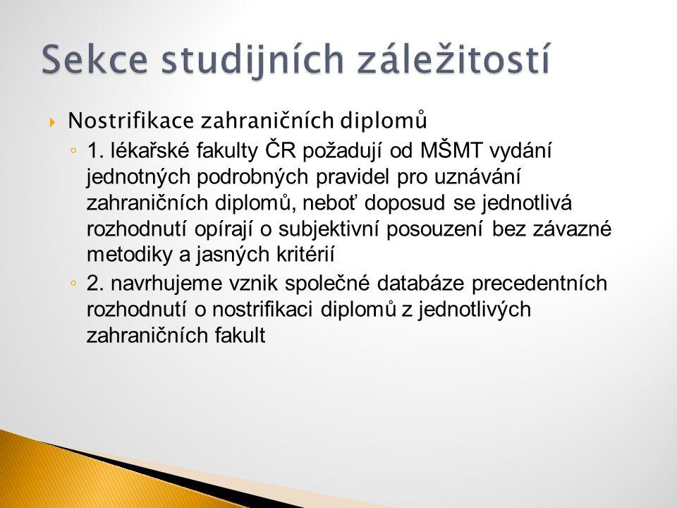  Nostrifikace zahraničních diplomů ◦ 1. lékařské fakulty ČR požadují od MŠMT vydání jednotných podrobných pravidel pro uznávání zahraničních diplomů,