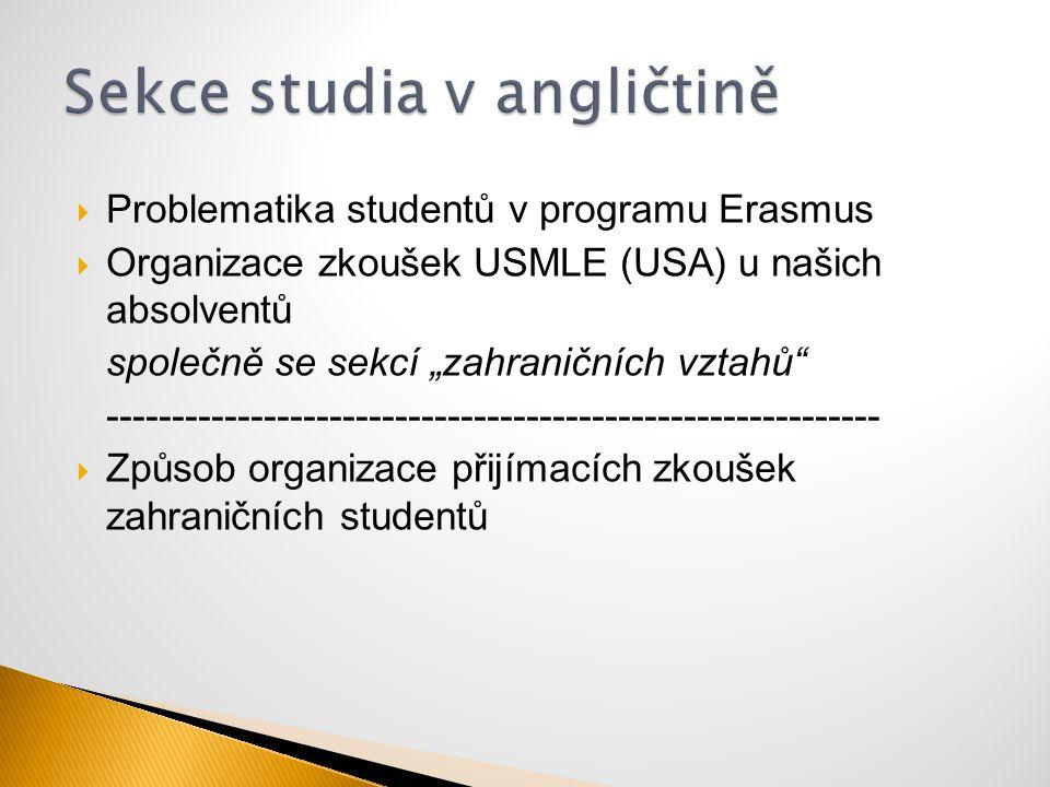 """ Problematika studentů v programu Erasmus  Organizace zkoušek USMLE (USA) u našich absolventů společně se sekcí """"zahraničních vztahů"""" --------------"""