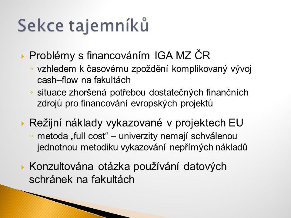  Problémy s financováním IGA MZ ČR ◦ vzhledem k časovému zpoždění komplikovaný vývoj cash–flow na fakultách ◦ situace zhoršená potřebou dostatečných