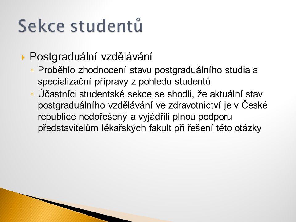 Postgraduální vzdělávání ◦ Proběhlo zhodnocení stavu postgraduálního studia a specializační přípravy z pohledu studentů ◦ Účastníci studentské sekce
