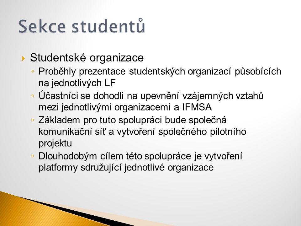  Studentské organizace ◦ Proběhly prezentace studentských organizací působících na jednotlivých LF ◦ Účastníci se dohodli na upevnění vzájemných vzta