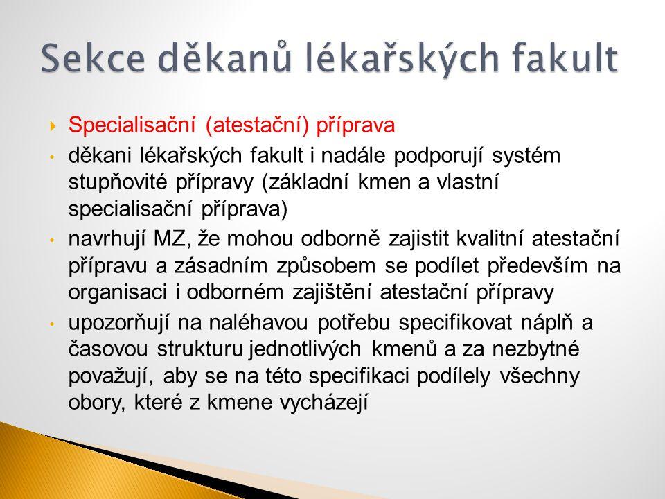  Specialisační (atestační) příprava děkani lékařských fakult i nadále podporují systém stupňovité přípravy (základní kmen a vlastní specialisační pří