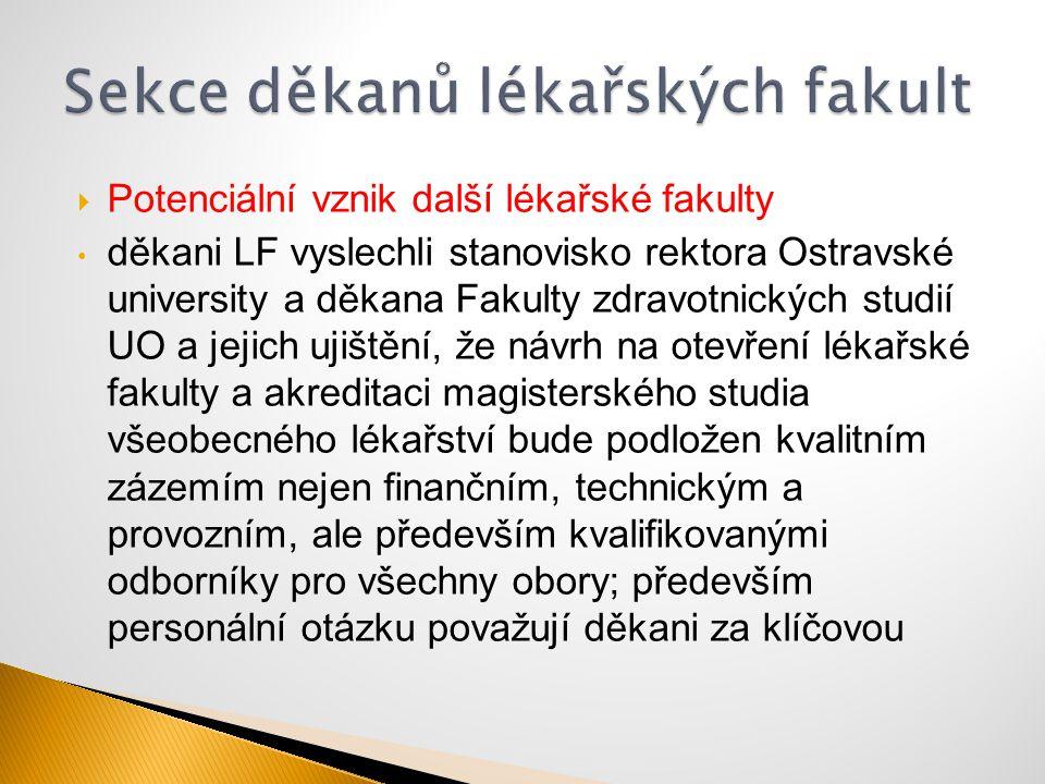  Potenciální vznik další lékařské fakulty děkani LF vyslechli stanovisko rektora Ostravské university a děkana Fakulty zdravotnických studií UO a jej