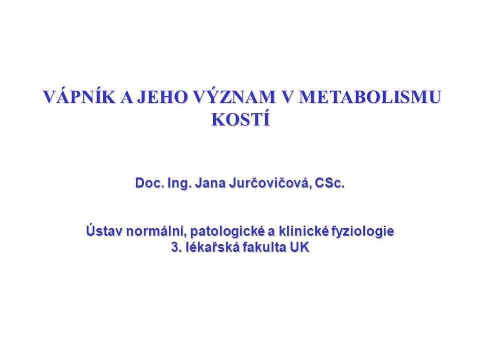 VÁPNÍK A JEHO VÝZNAM V METABOLISMU KOSTÍ Doc. Ing. Jana Jurčovičová, CSc. Ústav normální, patologické a klinické fyziologie 3. lékařská fakulta UK
