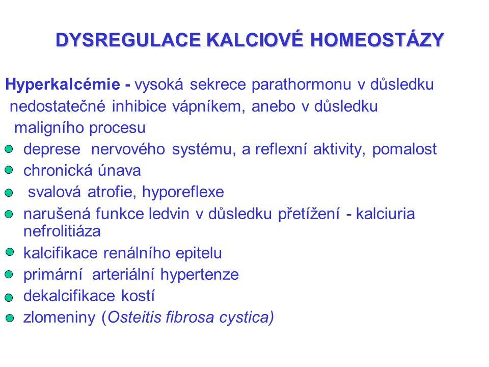 DYSREGULACE KALCIOVÉ HOMEOSTÁZY Hyperkalcémie - vysoká sekrece parathormonu v důsledku nedostatečné inhibice vápníkem, anebo v důsledku maligního proc