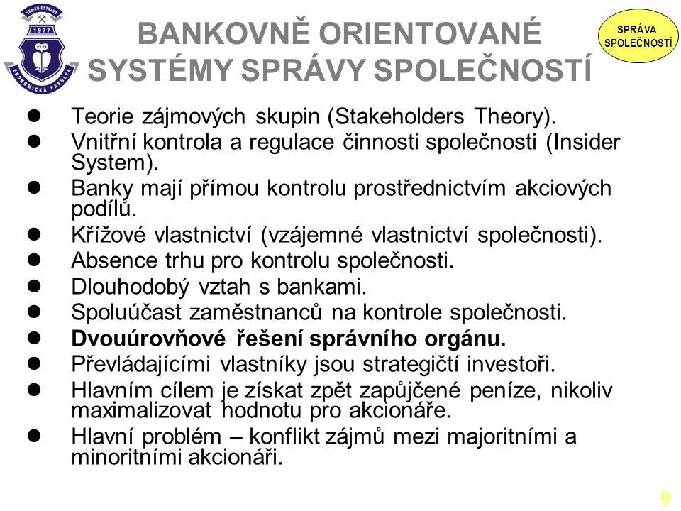 BANKOVNĚ ORIENTOVANÉ SYSTÉMY SPRÁVY SPOLEČNOSTÍ Teorie zájmových skupin (Stakeholders Theory). Vnitřní kontrola a regulace činnosti společnosti (Insid