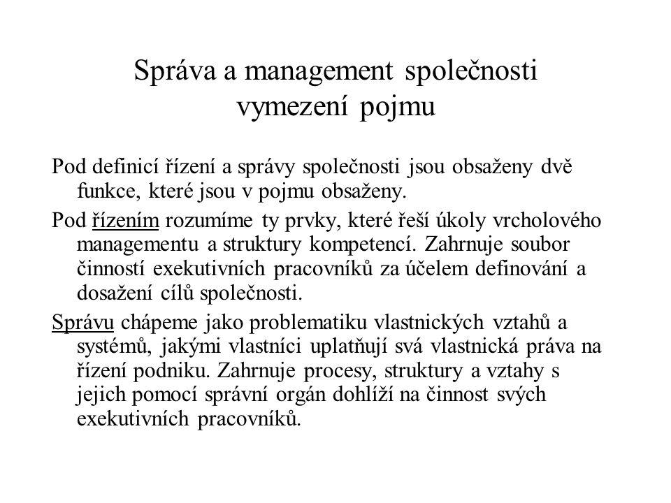 Správa a management společnosti vymezení pojmu Pod definicí řízení a správy společnosti jsou obsaženy dvě funkce, které jsou v pojmu obsaženy.
