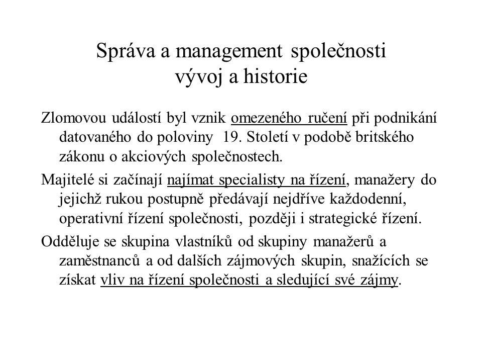 Správa a management společnosti vývoj a historie Zlomovou událostí byl vznik omezeného ručení při podnikání datovaného do poloviny 19. Století v podob
