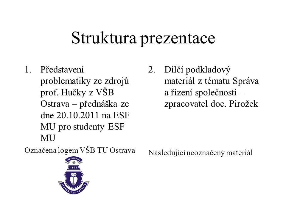 Struktura prezentace 1.Představení problematiky ze zdrojů prof.