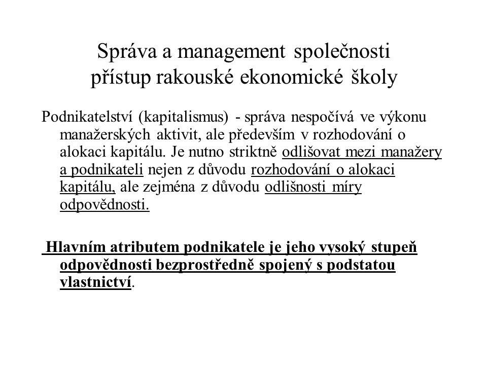 Správa a management společnosti přístup rakouské ekonomické školy Podnikatelství (kapitalismus) - správa nespočívá ve výkonu manažerských aktivit, ale