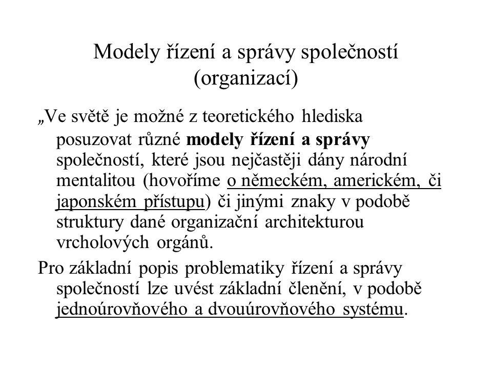 """Modely řízení a správy společností (organizací) """" Ve světě je možné z teoretického hlediska posuzovat různé modely řízení a správy společností, které"""