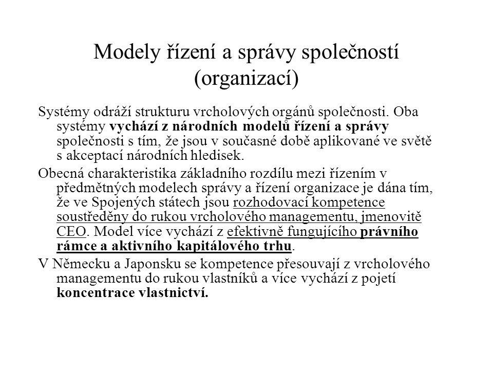 Modely řízení a správy společností (organizací) Systémy odráží strukturu vrcholových orgánů společnosti. Oba systémy vychází z národních modelů řízení