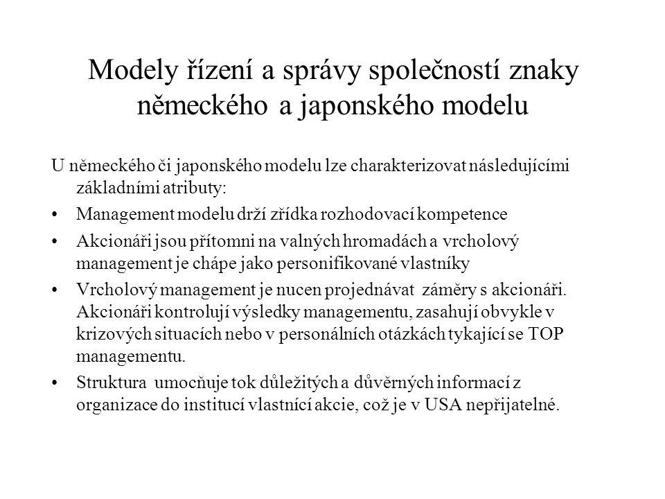 Modely řízení a správy společností znaky německého a japonského modelu U německého či japonského modelu lze charakterizovat následujícími základními a