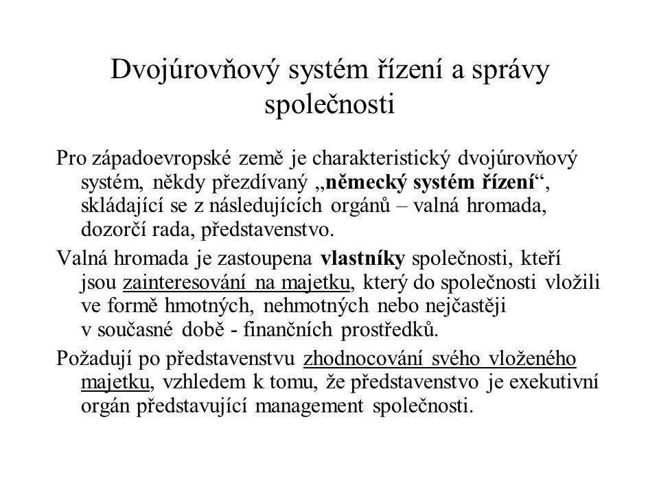 """Dvojúrovňový systém řízení a správy společnosti Pro západoevropské země je charakteristický dvojúrovňový systém, někdy přezdívaný """"německý systém říze"""