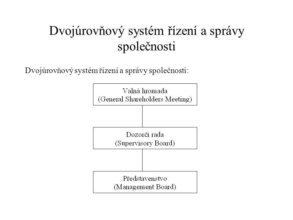 Dvojúrovňový systém řízení a správy společnosti Dvojúrovňový systém řízení a správy společnosti:
