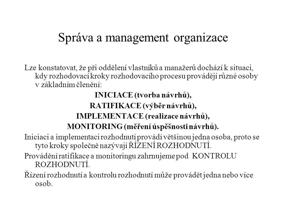 Správa a management organizace Lze konstatovat, že při oddělení vlastníků a manažerů dochází k situaci, kdy rozhodovací kroky rozhodovacího procesu provádějí různé osoby v základním členění: INICIACE (tvorba návrhů), RATIFIKACE (výběr návrhů), IMPLEMENTACE (realizace návrhů), MONITORING (měření úspěšnosti návrhů).