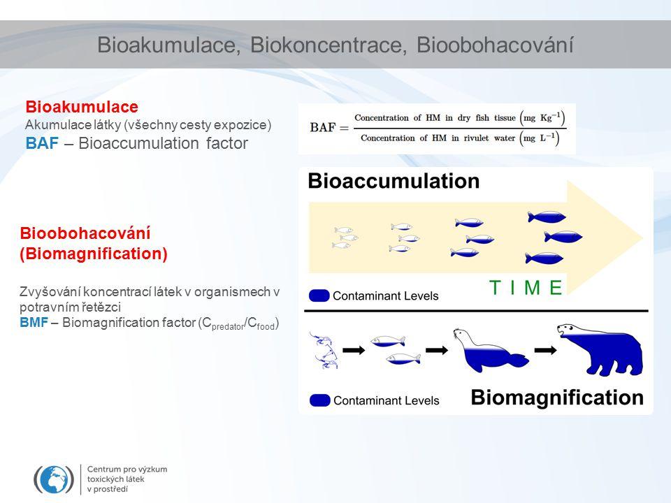 Bioakumulace, Biokoncentrace, Bioobohacování Bioakumulace Akumulace látky (všechny cesty expozice) BAF – Bioaccumulation factor Bioobohacování (Biomagnification) Zvyšování koncentrací látek v organismech v potravním řetězci BMF – Biomagnification factor (C predator /C food )
