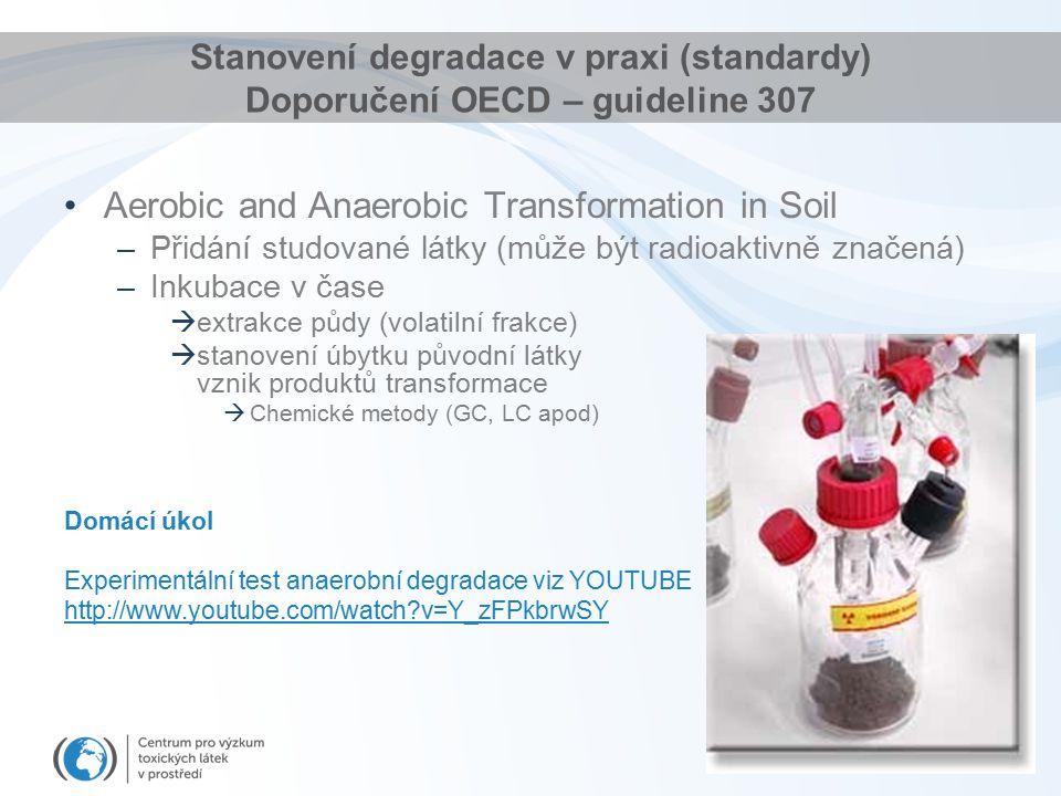 Stanovení degradace v praxi (standardy) Doporučení OECD – guideline 307 Aerobic and Anaerobic Transformation in Soil –Přidání studované látky (může být radioaktivně značená) –Inkubace v čase  extrakce půdy (volatilní frakce)  stanovení úbytku původní látky vznik produktů transformace  Chemické metody (GC, LC apod) Domácí úkol Experimentální test anaerobní degradace viz YOUTUBE http://www.youtube.com/watch?v=Y_zFPkbrwSY