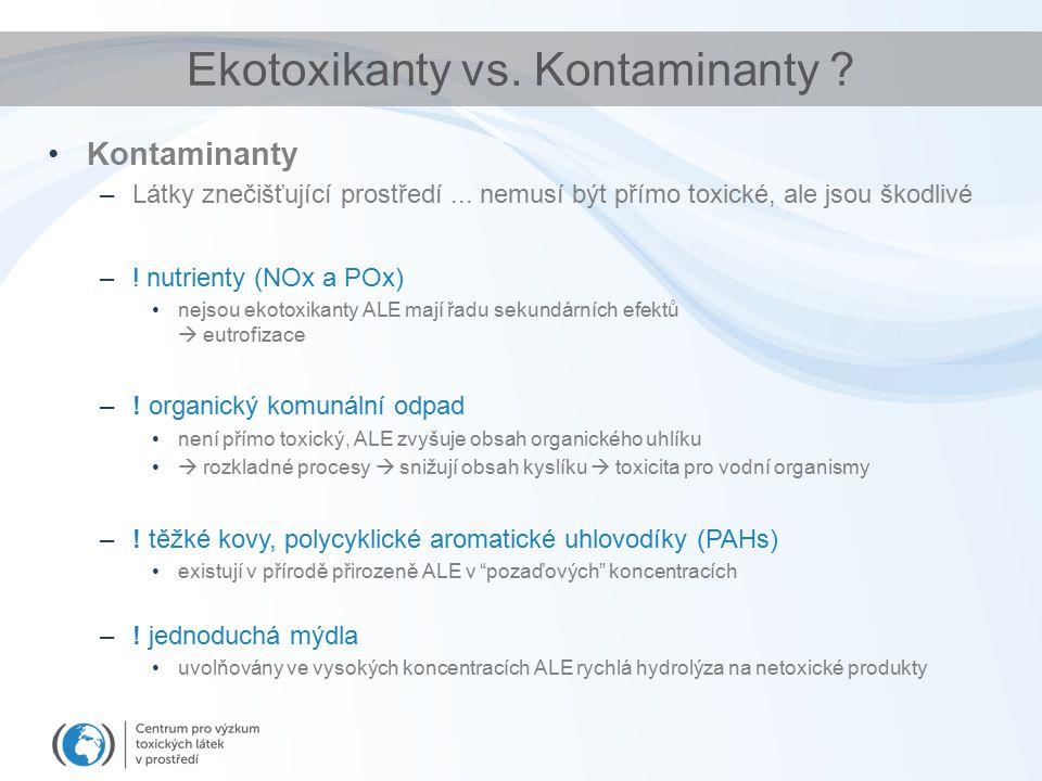 Kontaminanty –Látky znečišťující prostředí... nemusí být přímo toxické, ale jsou škodlivé –! nutrienty (NOx a POx) nejsou ekotoxikanty ALE mají řadu s