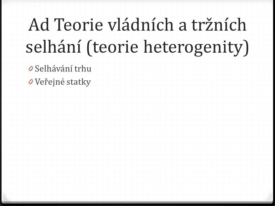 Ad Teorie vládních a tržních selhání (teorie heterogenity) 0 Selhávání trhu 0 Veřejné statky
