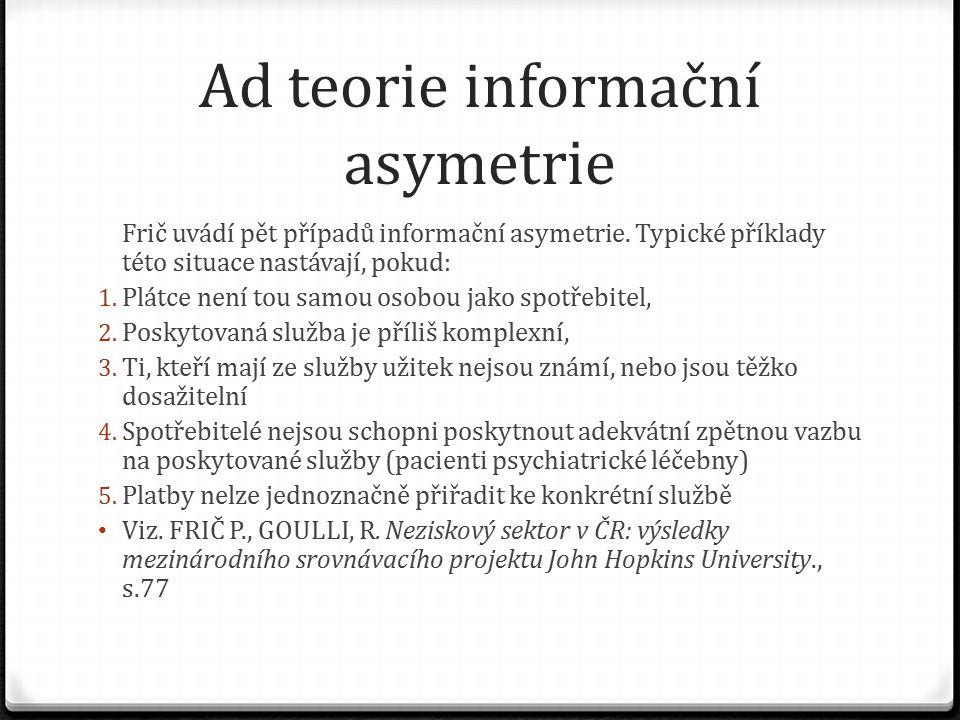 Ad teorie informační asymetrie Frič uvádí pět případů informační asymetrie.