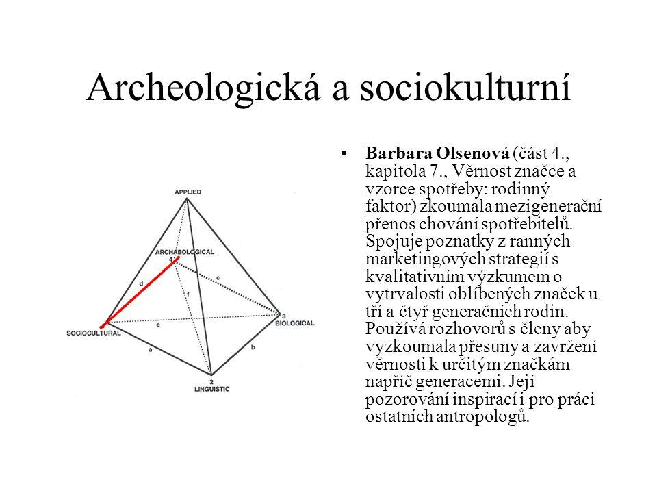 Archeologická a sociokulturní Barbara Olsenová (část 4., kapitola 7., Věrnost značce a vzorce spotřeby: rodinný faktor) zkoumala mezigenerační přenos chování spotřebitelů.