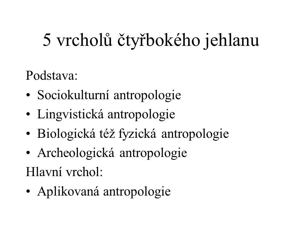5 vrcholů čtyřbokého jehlanu Podstava: Sociokulturní antropologie Lingvistická antropologie Biologická též fyzická antropologie Archeologická antropologie Hlavní vrchol: Aplikovaná antropologie