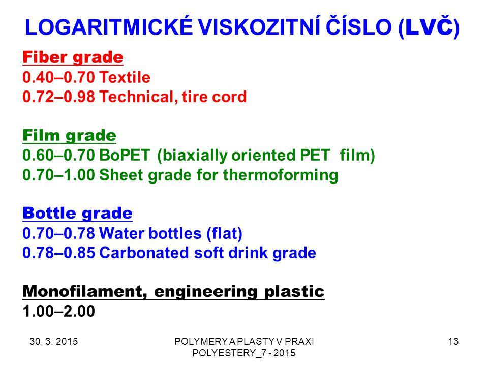 LOGARITMICKÉ VISKOZITNÍ ČÍSLO ( LVČ ) 30. 3. 2015POLYMERY A PLASTY V PRAXI POLYESTERY_7 - 2015 13 Fiber grade 0.40–0.70 Textile 0.72–0.98 Technical, t