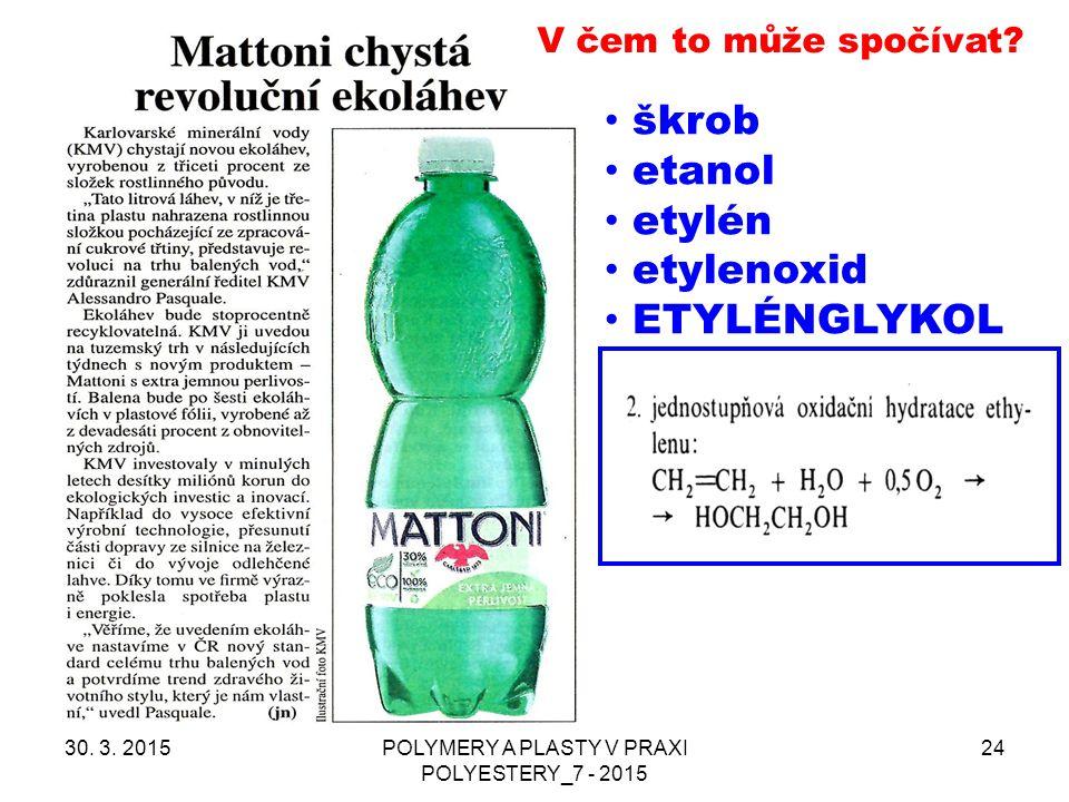 30. 3. 2015POLYMERY A PLASTY V PRAXI POLYESTERY_7 - 2015 24 V čem to může spočívat? škrob etanol etylén etylenoxid ETYLÉNGLYKOL