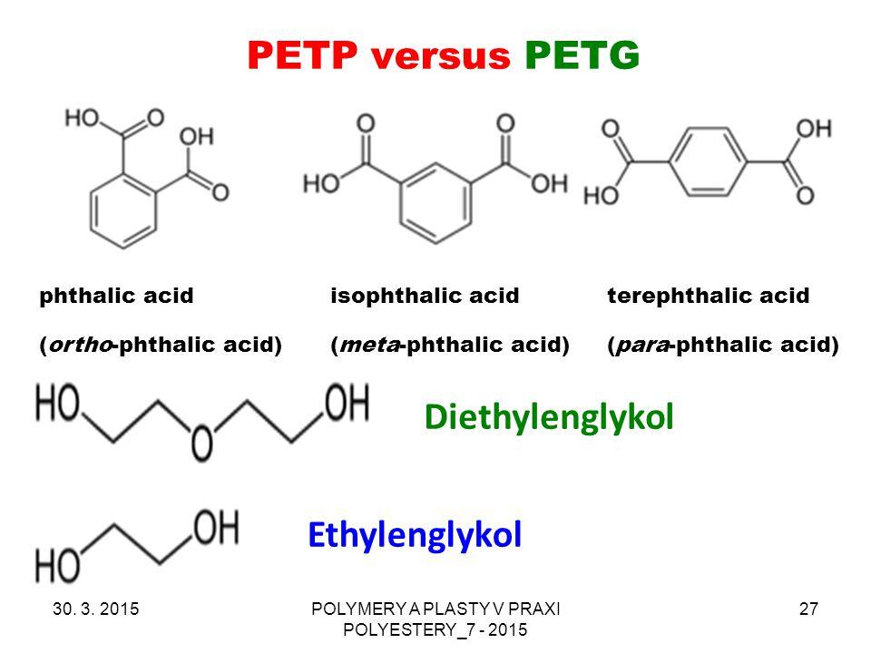 PETP versus PETG 30. 3. 2015POLYMERY A PLASTY V PRAXI POLYESTERY_7 - 2015 27 phthalic acid isophthalic acid terephthalic acid (ortho-phthalic acid) (m