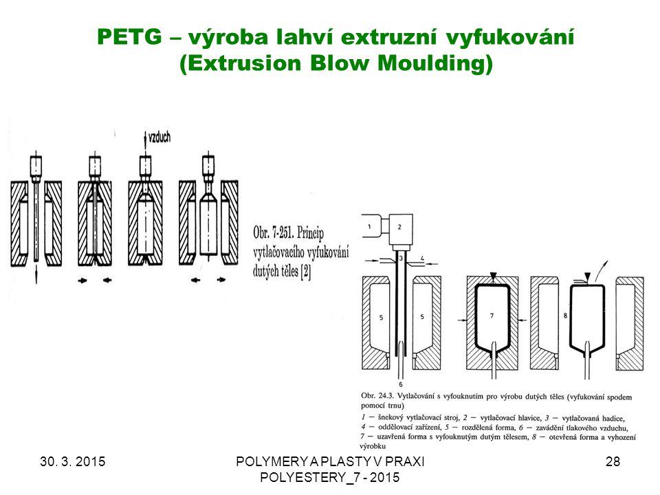 PETG – výroba lahví extruzní vyfukování (Extrusion Blow Moulding) 30. 3. 2015POLYMERY A PLASTY V PRAXI POLYESTERY_7 - 2015 28