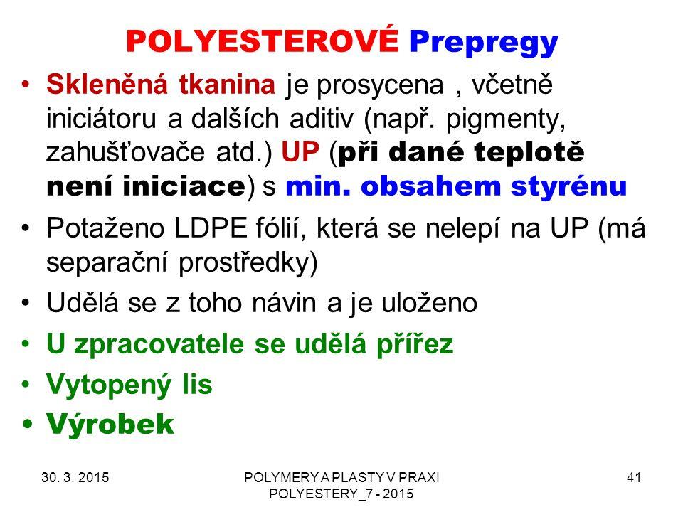 POLYESTEROVÉ Prepregy 30. 3. 2015POLYMERY A PLASTY V PRAXI POLYESTERY_7 - 2015 41 Skleněná tkanina je prosycena, včetně iniciátoru a dalších aditiv (n