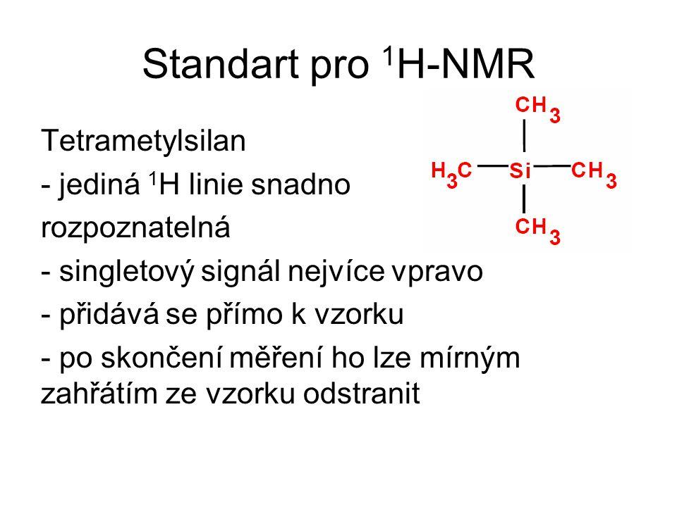 Standart pro 1 H-NMR Tetrametylsilan - jediná 1 H linie snadno rozpoznatelná - singletový signál nejvíce vpravo - přidává se přímo k vzorku - po skonč