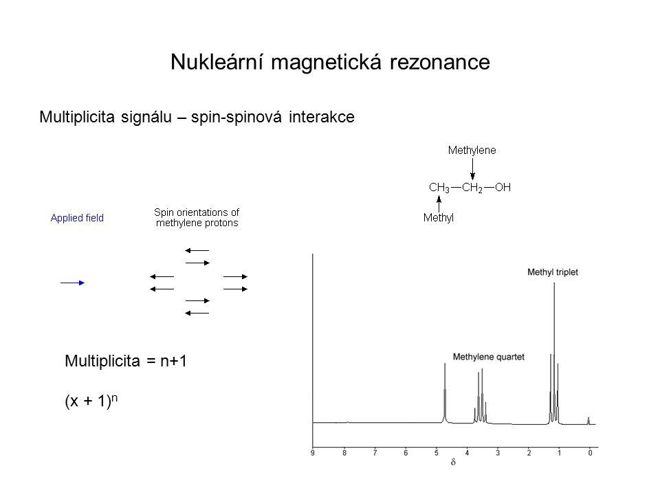 Nukleární magnetická rezonance Multiplicita signálu – spin-spinová interakce Multiplicita = n+1 (x + 1) n
