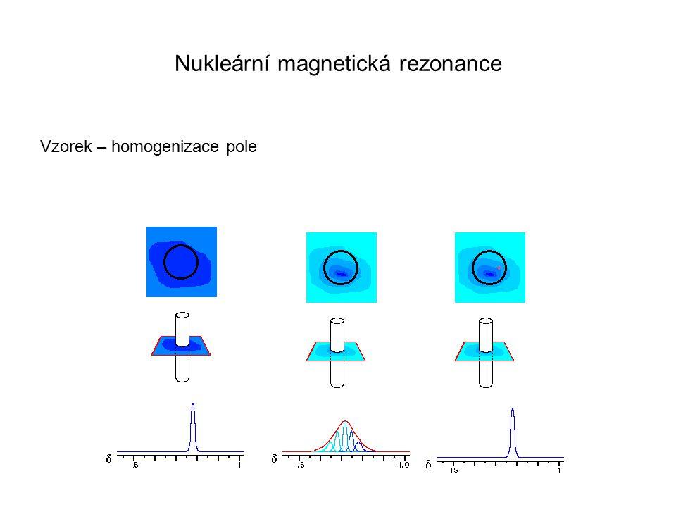 Nukleární magnetická rezonance Vzorek – homogenizace pole