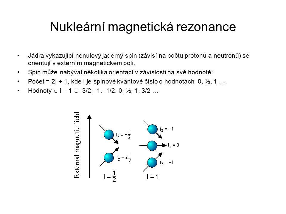 Nukleární magnetická rezonance Jádra vykazující nenulový jaderný spin (závisí na počtu protonů a neutronů) se orientují v externím magnetickém poli. S