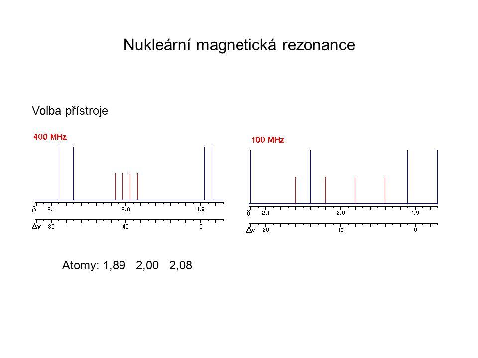 Nukleární magnetická rezonance Volba přístroje Atomy: 1,89 2,00 2,08