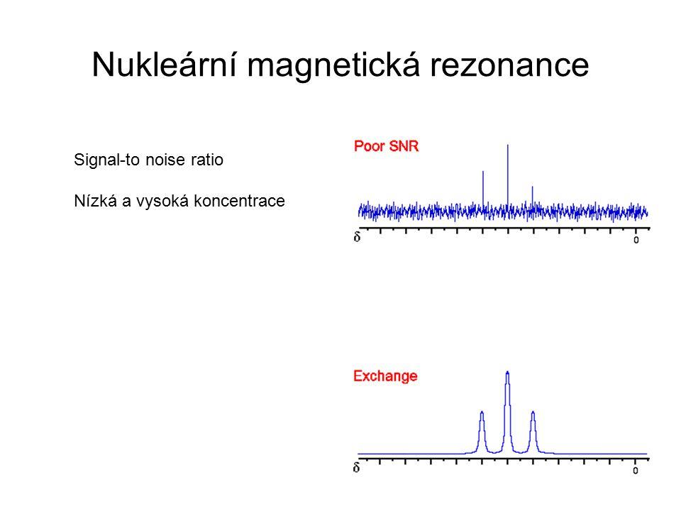 Nukleární magnetická rezonance Signal-to noise ratio Nízká a vysoká koncentrace