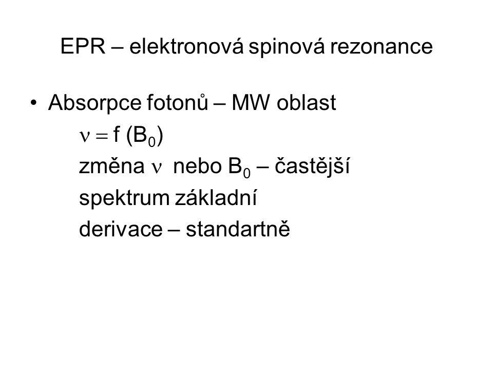EPR – elektronová spinová rezonance Absorpce fotonů – MW oblast  f (B 0 ) změna  nebo B 0 – častější spektrum základní derivace – standartně
