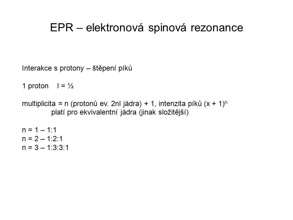 EPR – elektronová spinová rezonance Interakce s protony – štěpení píků 1 proton I = ½ multiplicita = n (protonů ev. 2nI jádra) + 1, intenzita píků (x