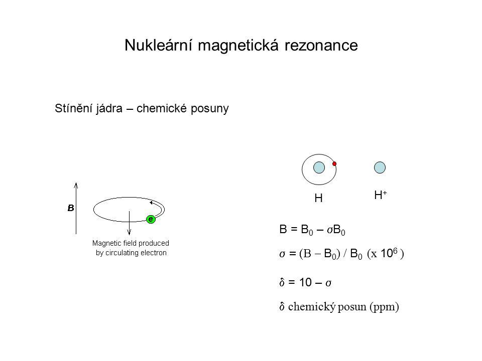 Nukleární magnetická rezonance Stínění jádra – chemické posuny H+H+ H B = B 0 –  B 0  B 0 ) / B 0 (x 10 6 )  = 10 –   chemický posun (ppm)