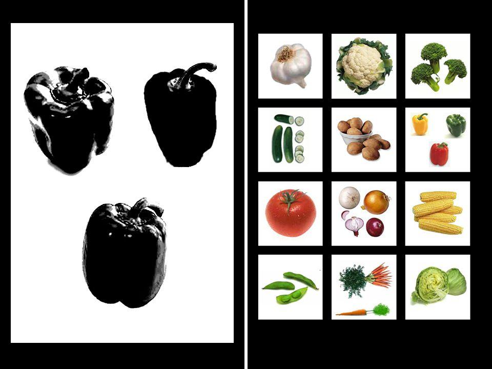 2. ÚKOL Dítě hledá zeleninu podle černobílého obrázku.