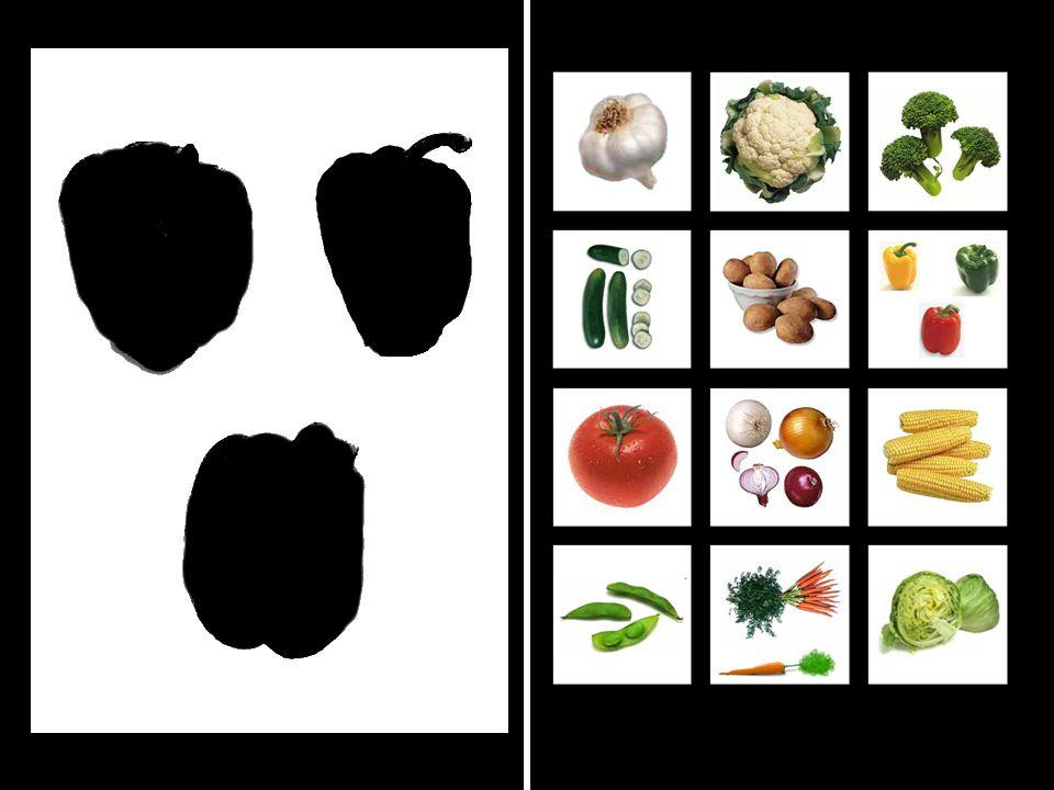 3. ÚKOL Dítě hledá zeleninu podle stínového obrázku.