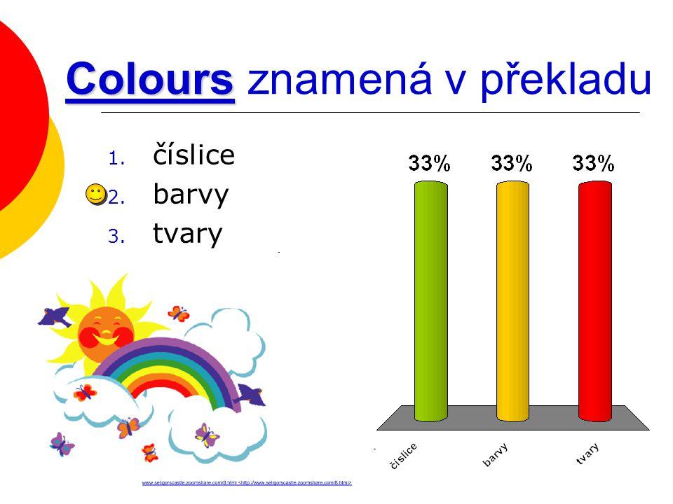 Colours Colours znamená v překladu 1. číslice 2. barvy 3. tvary