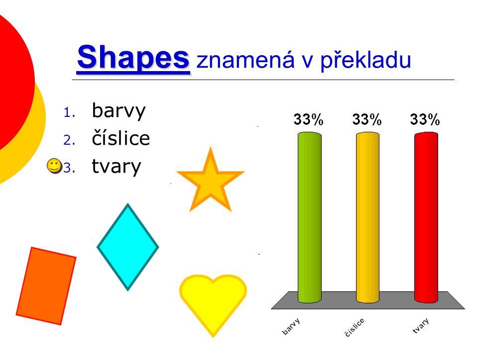 Shapes Shapes znamená v překladu 1. barvy 2. číslice 3. tvary